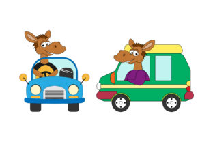 Print on Demand: Cute Horse Cartoon Ride a Car Graphic Illustrations By curutdesign