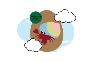 Easter Egg with Crab Grafik Illustrationen von silabustudio