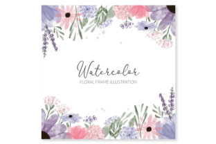 Print on Demand: Floral Frame Watercolor Square Painted Graphic Illustrations By elsabenaa