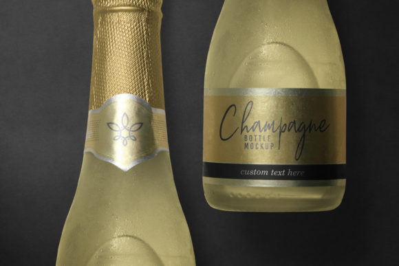 Small Champagne Bottle Label Mockup Graphic Product Mockups By nopxcreative