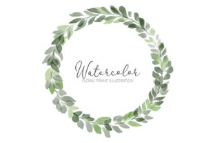 Print on Demand: Watercolor Green Leaf Circle Wreath Graphic Illustrations By elsabenaa