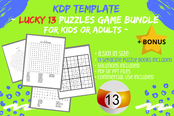 Print on Demand: 13 Book Game Puzzles Bundle & Solutions Graphic KDP Interiors By Tomboy Designs