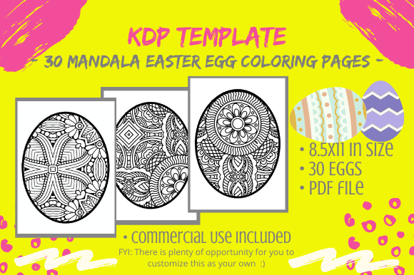 30 Easter Egg Mandalas Coloring Pages Graphic