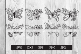 Print on Demand: Butterfly Flowers Monogram Svg Cut File Graphic Print Templates By dadan_pm