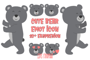 Print on Demand: Cute Bear Emoticon Graphic Icons By sipanji figuree