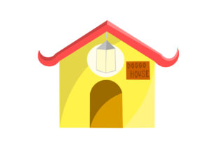 Dog House in Yellow Graphic Illustrations By harunikaart