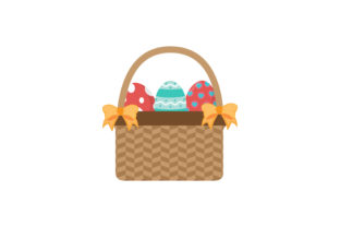 Easter Basket Yellow Ribbon Vector Icon Graphic Icons By raysaozora