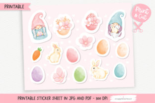 Print on Demand: Easter Gnome Printable Stickers, Sticker Graphic Crafts By Chonnieartwork