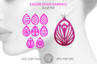 Print on Demand: Easter Earring SVG, Easter Eggs Earring Graphic 3D SVG By Artisan Craft SVG