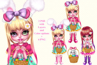 Print on Demand: Easter Spring Girl with Bunny Graphic Illustrations By ladymishka