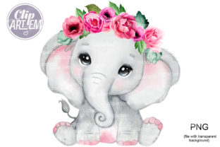 Print on Demand: Elephant with Flowers Pink WatercoloPNG Graphic Illustrations By clipArtem
