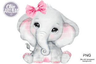 Print on Demand: Elephant with Pink Bow PNG Clip Art Graphic Illustrations By clipArtem