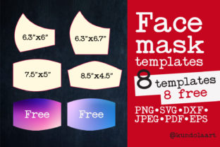 Print on Demand: Face Mask Template SVG, PNG. BONUS Graphic Sewing Patterns By KundolaArt