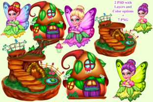 Print on Demand: Fairy House Set Graphic Illustrations By ladymishka