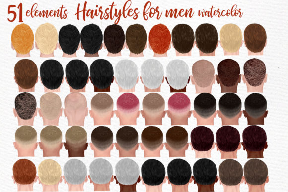 Print on Demand: Hairstyles Clipart Male Hairstyles Graphic Illustrations By LeCoqDesign