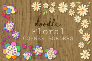 Print on Demand: Hand Drawn Doodle Corner Floral Borders Graphic Illustrations By Prawny