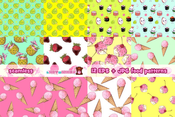 Print on Demand: Kawaii Food Seamless Patterns Graphic Patterns By ladymishka