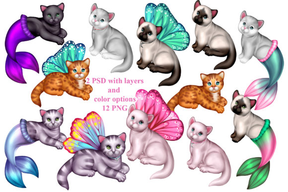 Print on Demand: Magic Kittens Set Graphic Illustrations By ladymishka