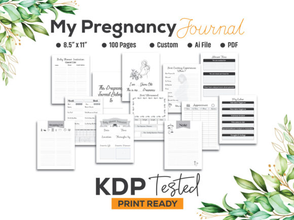 My Pregnancy Journal Log KDP Interior Graphic KDP Interiors By GraphicTech360