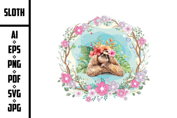 Sloth with Tropical Flower Graphic Illustrations By trendyart