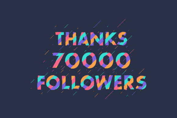 Print on Demand: Thanks 70000 Followers Graphic Graphic Templates By Netart