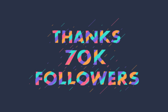 Print on Demand: Thanks 70K Followers Graphic Graphic Templates By Netart