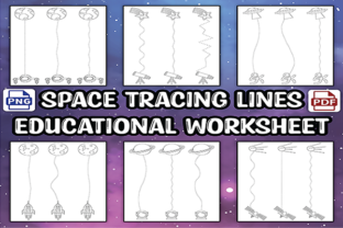 The Space Tracing Lines for Kids Graphic Teaching Materials By Awesome Grafix