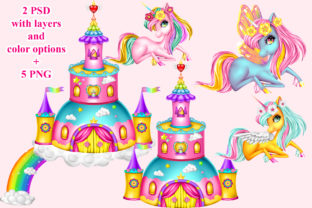 Print on Demand: Unicorn Castle Set Graphic Illustrations By ladymishka