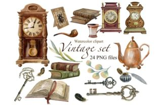 Vintage Clocks, Watercolor Clipart Graphic Illustrations By Marine Universe