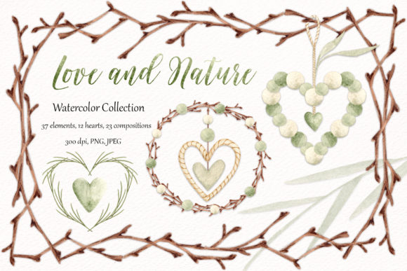 """Watercolor Collection """"Love and Nature"""" Graphic Illustrations By SirenaArt"""