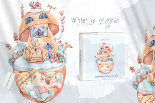 Print on Demand: Watercolor Magic Bunny House Clipart. Graphic Illustrations By Tiana Geo