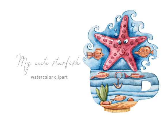 Print on Demand: Watercolor Magic Starfish Clipart Graphic Illustrations By Tiana Geo