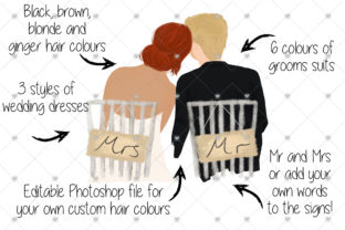 Print on Demand: Wedding Couple Clipart Graphic Illustrations By CommercialCliparts