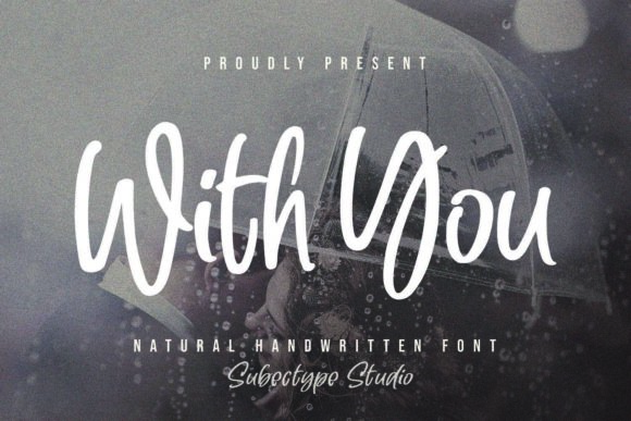 Print on Demand: With You Script & Handwritten Font By Subectype