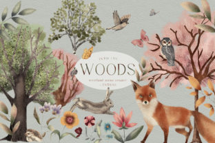 Print on Demand: Woodland Scene Creator Animals Trees PNG Graphic Illustrations By Busy May Studio