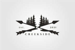 Pine Tree River Logo Landscape Vector Graphic Logos By lawoel