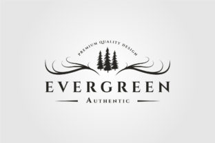 Pine Tree with Antler Logo Vector Design Graphic Logos By lawoel