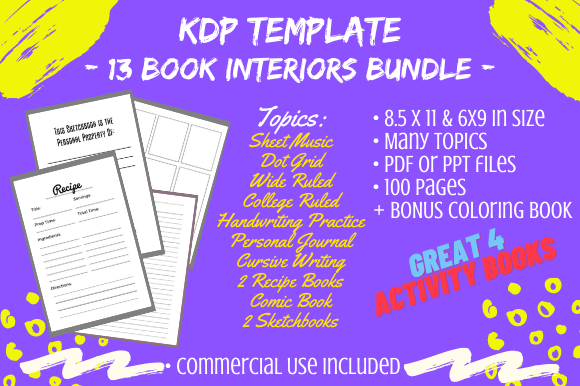 Print on Demand: 13 Book Interiors for KDP 100 Pages Each Graphic KDP Interiors By Tomboy Designs