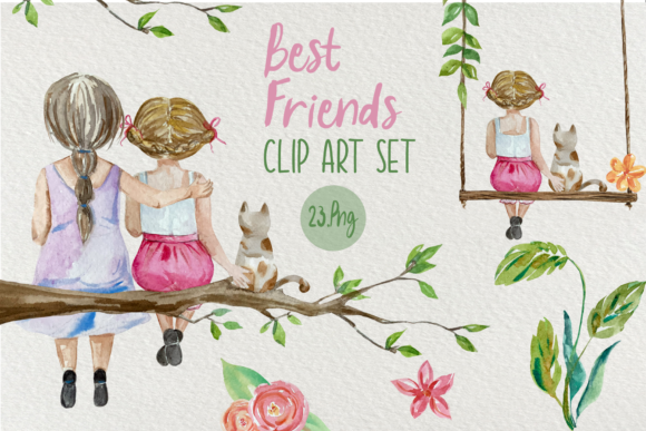 Best Friends - Watercolor Clip Art Set Graphic Illustrations By tatibordiu