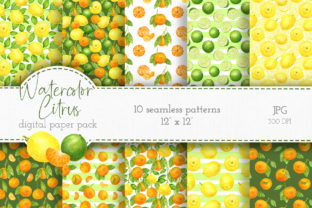 Citrus Watercolor Digital Paper Pack Graphic Patterns By Olya Haifisch