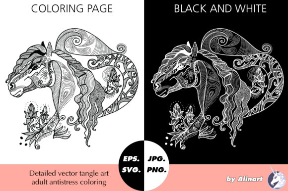 Coloring Page Tangle Friesian Horse Graphic Coloring Pages & Books Adults By Alinart