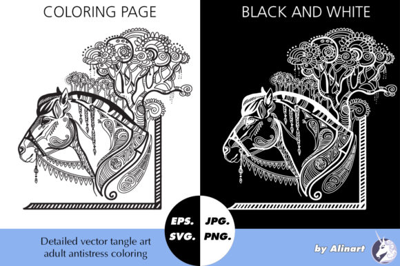 Coloring Page for Adult Magic Horse Graphic Coloring Pages & Books Adults By Alinart