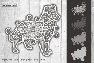 Print on Demand: Dog #2 Mandala Vector SVG Multilayer Graphic 3D SVG By Ahsancomp Studio