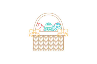 Easter Basket Yellow Ribbon Color Line Graphic Icons By raysaozora