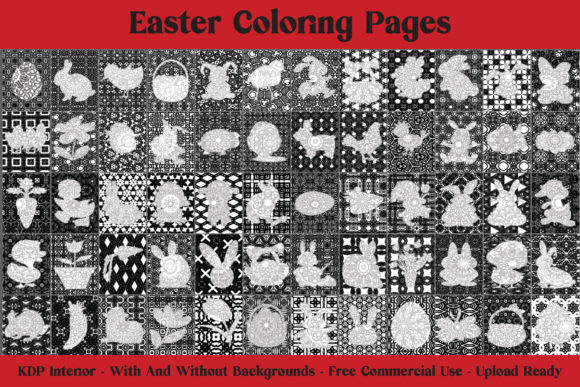 Easter Coloring Pages - 62 Pages for KDP Graphic Download
