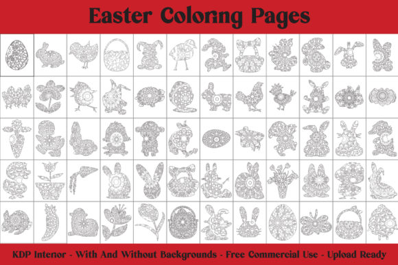 Easter Coloring Pages - 62 Pages for KDP Graphic Item