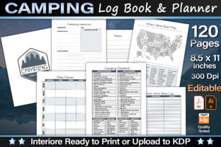 Editable Camping Log Book & Planner Graphic KDP Interiors By okdecoconcept