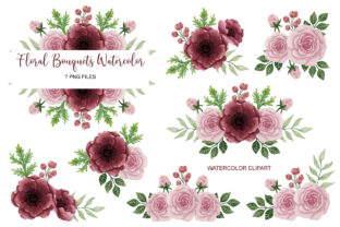 Floral Watercolor Bouquet Clip Art Set 7 Grafik Druck-Templates von UrufaArt