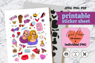 Print on Demand: Girl Power Printable Sticker Packs Graphic Crafts By Orange Brush Studio