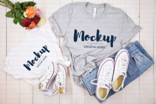 Grey Mommy and Me Shirt Mockup Graphic Product Mockups By MyMockupStudio